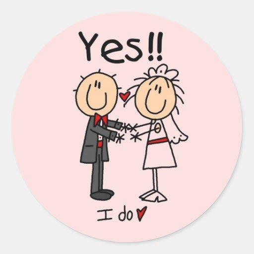 JA tue ich Braut und Bräutigam-T-Shirts und Gesche Runder Sticker