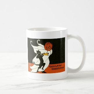 Jack O Laternen-schwarze Katzen-Geist-Horn Kaffeetasse