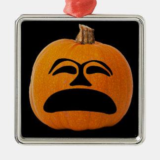 Jack o Laternen-unglückliches Gesicht, Quadratisches Silberfarbenes Ornament