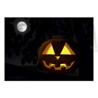 Jack O'Lantern und Mond-Halloween-Gruß-Karte Karte