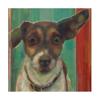 Jack-Russell-Terrier auf hölzerner Leinwand Holzleinwand
