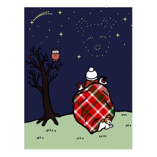 Jack-Russell-Terrier-Mamma und Starry Himmel Postkarte