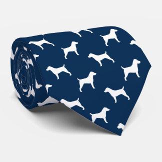 Jack-Russell-Terrier-Silhouette-Muster-Blau Personalisierte Krawatte