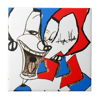 Jacke im Kasten (Clown-Skizze) Keramikfliese