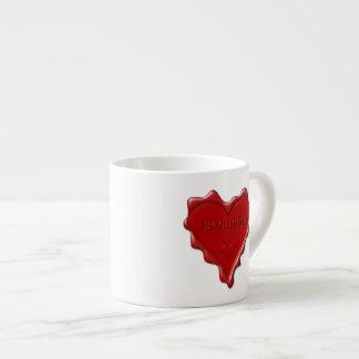 Jacqueline. Rotes Herzwachs-Siegel mit Espressotasse