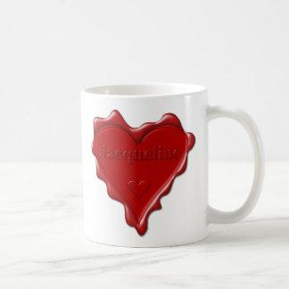Jacqueline. Rotes Herzwachs-Siegel mit Kaffeetasse
