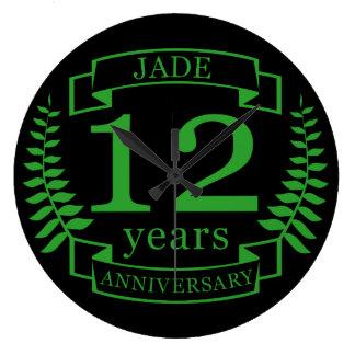 Jade-Edelstein-Hochzeitstag 12 Jahre Große Wanduhr