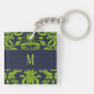 Jade-Grün-Damast mit Marine-Blau-Monogramm Schlüsselanhänger