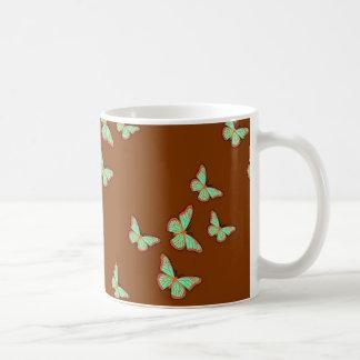Jade-Grün-Schmetterlings-Brown-Geschenke durch Kaffeetasse