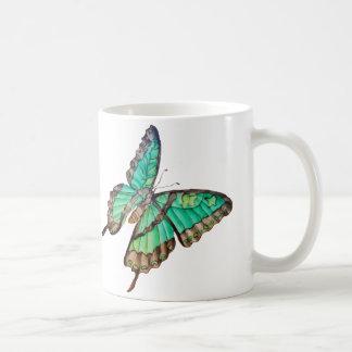 Jade-Grün und goldene Schmetterlings-Tasse Kaffeetasse