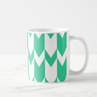 Jade-Grün-und weißesZickzack Muster Kaffeetasse