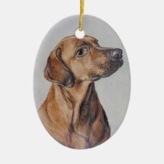 Jagdhund-Weihnachtsverzierung Ovales Keramik Ornament