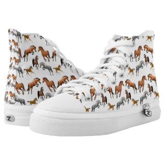 Jäger-Pullover-Pferdehohe Spitzenturnschuhe Hoch-geschnittene Sneaker