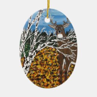 Jäger-Rotwild-Lager Ovales Keramik Ornament