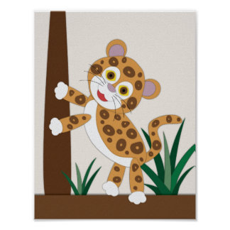Jaguar-Kinderzimmer-Kunst Poster