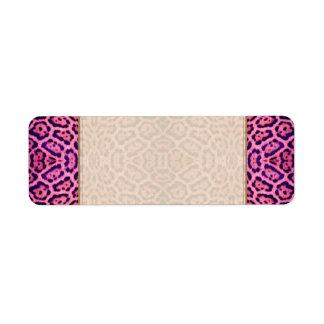 Jaguar-Pelz in rosa und in Lila Rückversand-Adressaufkleber