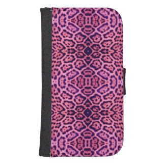 Jaguar-Pelz in rosa und in Lila Samsung S4 Geldbeutel Hülle
