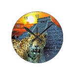 Jaguar u. Chichen Itza Tempel-Tier-Wanduhr