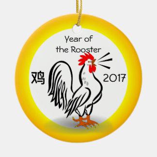 JAHR DER HAHN-Verzierung Rundes Keramik Ornament