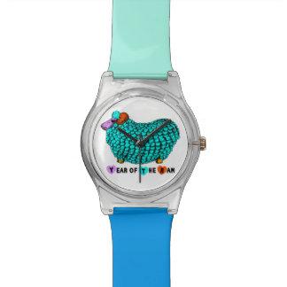 Jahr der RAM-Schaf-oder Ziegen-Türkis-Uhr Armbanduhr
