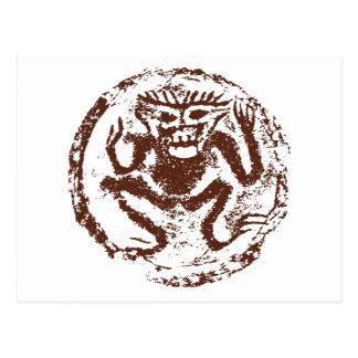 Jahr des Affen abstrakt Postkarte