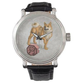 Jahr des Hundes - chinesische Tierkreis-Kunst Armbanduhr