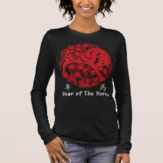 Jahr des Pferds Papercut Langarm T-Shirt