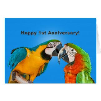Jahrestag, 1., liebevolle Papageien Grußkarte