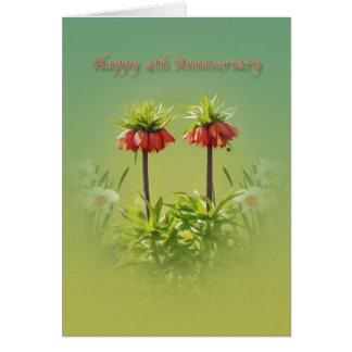 Jahrestag, 4., rote Rubra Tulpen Karte