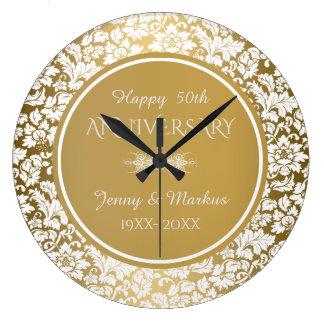 Jahrestag des Goldkreis-weißer Damast-50. Große Wanduhr