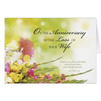 Jahrestag des Verlustes der Ehefrau, Tod, Blumen Karte