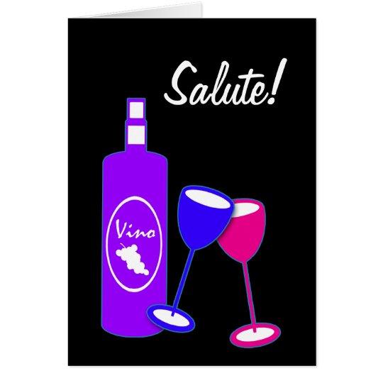 Jahrestag jubelt Wein-Flasche und Gläsern zu Grußkarte