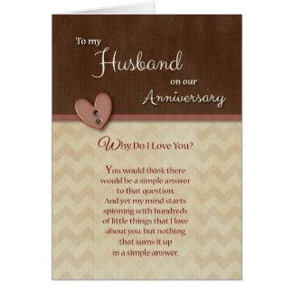 Jahrestag zum Ehemann - warum tun i-Liebe Sie? Karte