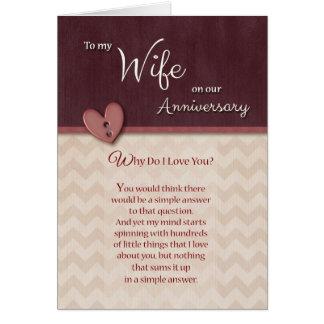 Jahrestag zur Ehefrau - warum tun i-Liebe Sie? Grußkarte