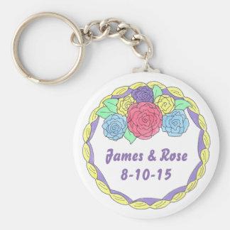 Jahrestags-Gastgeschenk Hochzeits-Kuchen mit Rosen Schlüsselanhänger