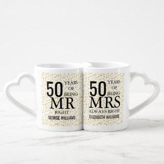 Jahrestags-Herr Frau Right Goldherzenconfetti-50. Liebestassen