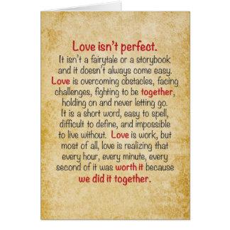 Jahrestags-Karten-Liebe ist nicht perfekt Karte