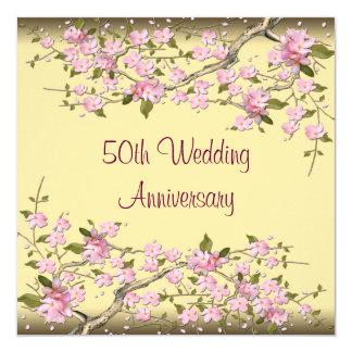 Jahrestags-Party der Goldkirschblüten-50. Quadratische 13,3 Cm Einladungskarte