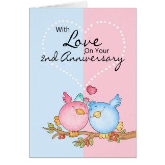 Jahrestagskarte - 2. Jahrestags-Liebevögel Grußkarte