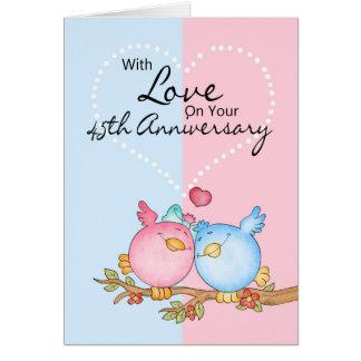 Jahrestagskarte - 45. Jahrestags-Liebevögel Grußkarte