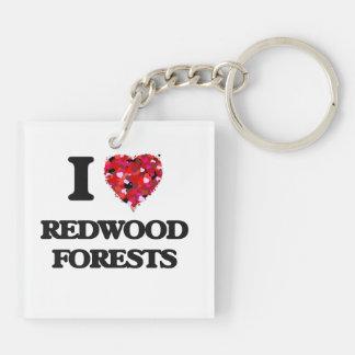 J'aime des forêts de séquoia porte-clé carré en acrylique double face