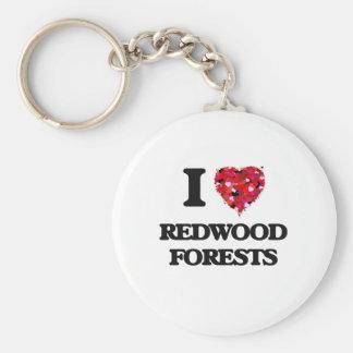 J'aime des forêts de séquoia porte-clé rond