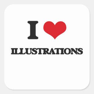 J'aime des illustrations autocollants carrés