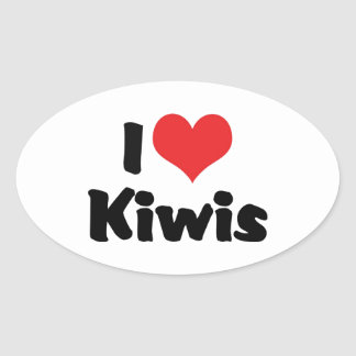 J'aime des kiwis sticker ovale