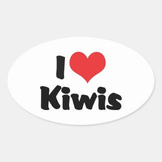 J'aime des kiwis de coeur - amant d'oiseau de kiwi sticker ovale