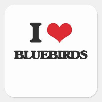 J'aime des oiseaux bleus stickers carrés