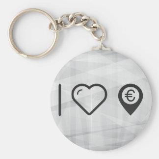 J'aime d'euro emplacements porte-clé rond