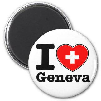 J'aime Genève Magnet Rond 8 Cm