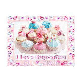 J'aime l'affiche de petits gâteaux toiles