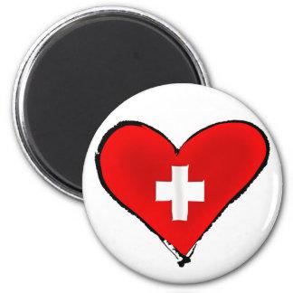 J'aime les cadeaux suisses de conception de coeur  magnet rond 8 cm